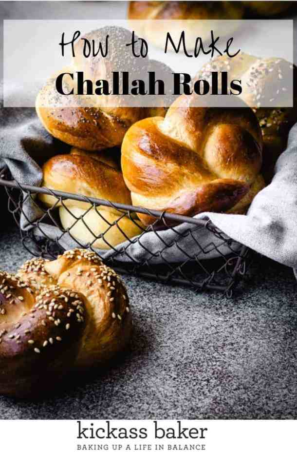 Challah Rolls | kickassbaker.com pin for pinterest with text