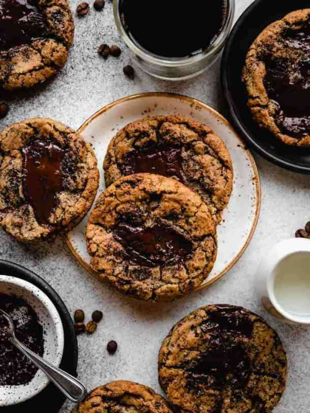 espresso chocolate chunk cookies on a plate