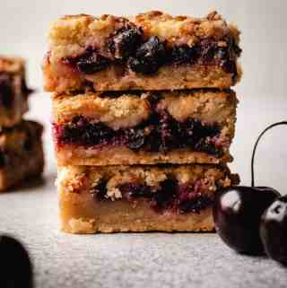 stack of three cherry pie bars