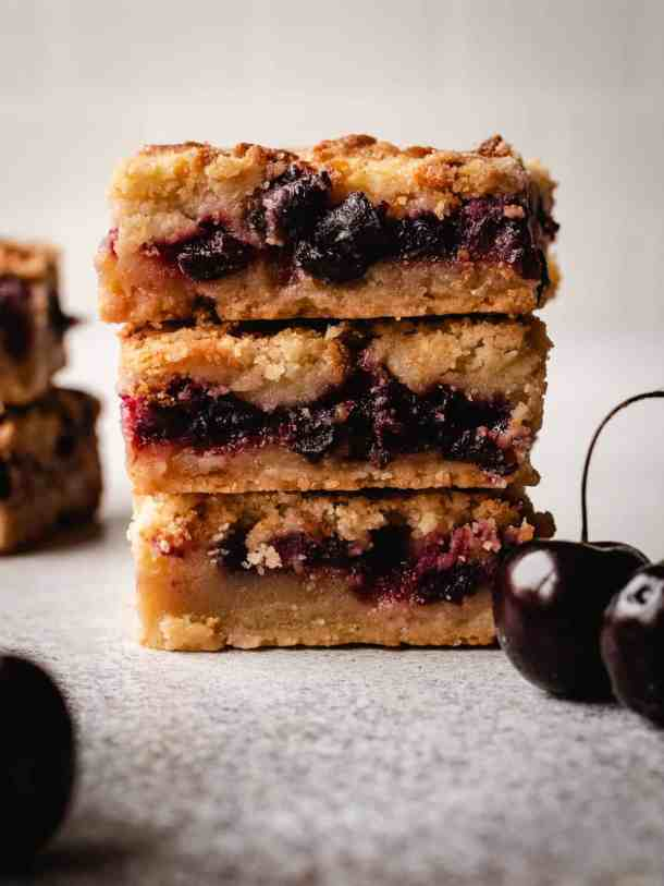 stack of three cherry pie bars