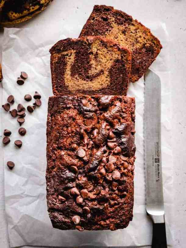 baked banana bread marbled with chocolate