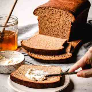 Honey Wheat Sandwich Bread | kickassbaker.com pin for Pinterest