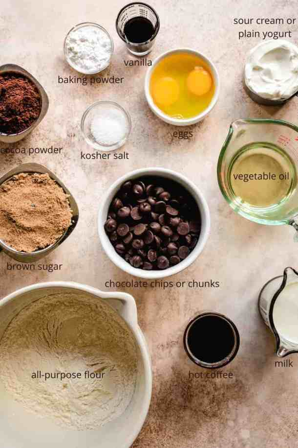 ingredients for double chocolate chip muffins