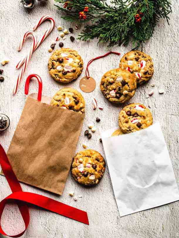 white chocolate candy cane cookies for the holidays