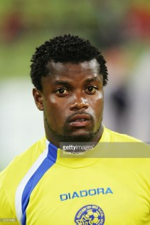 MUNICH, GERMANY - NOVEMBER 23: A portrait of Ishmael Addo of Maccabi Tel Aviv prior to the UEFA Champions League group C match between FC Bayern Munich and Maccabi Tel Aviv at The Olympic Stadium on November 23, 2004 in Munich, Germany. (Photo by Stuart Franklin/Getty Images) *** Local Caption *** Ishmael Addo