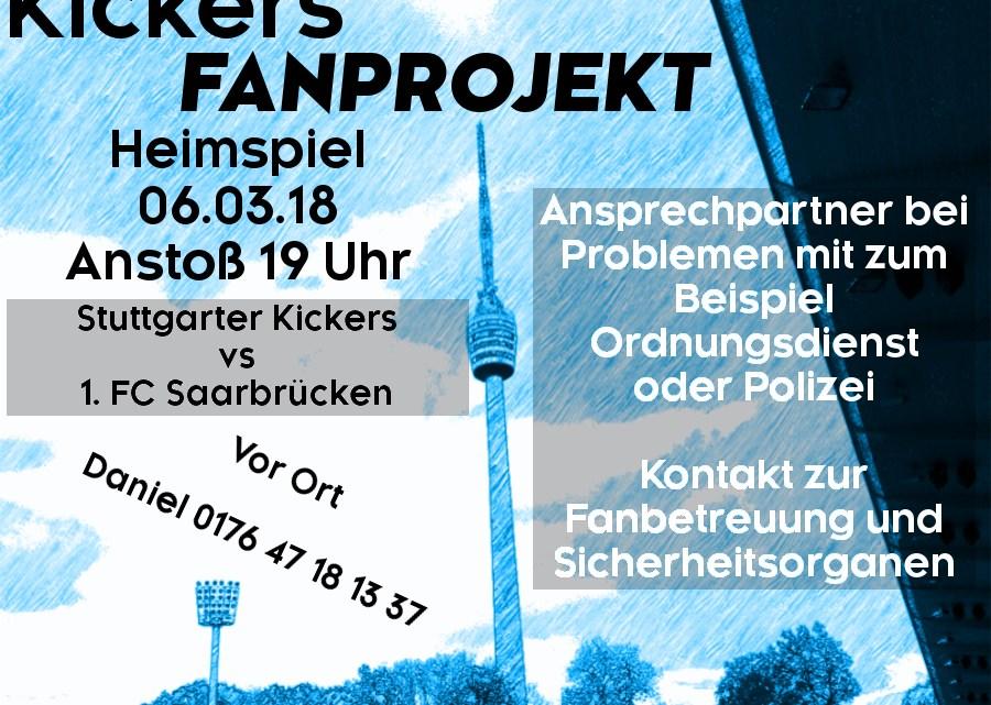 Nachholspiel am Dienstag, 06.03.2018, um 19 Uhr gegen 1. FC Saarbrücken