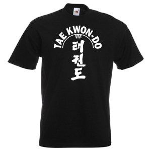 ITF Taekwondo T-shirt 21-white-on-black