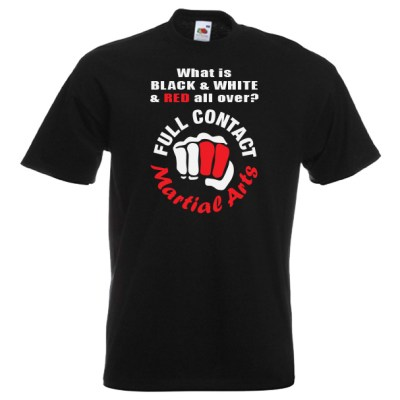 full contact Martial Arts 18R2-red-and-white-on-black-shirt