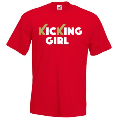 kicking girl 61G-white-and-gold-on-red-Tshirts