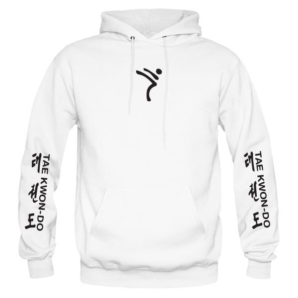 Itf Taekwondo White Hoodie Kicking Man Taekwondo T