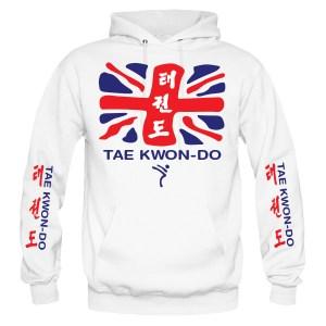 Kicking Man Taekwondo Hoodies style-27H-front-red-blue-on-white