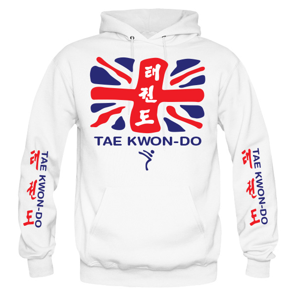 British Taekwondo Hoodie style-27H-front-red-blue-on-white