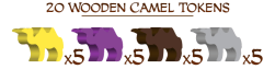 Wooden Camel Tokens in Each Players Colour. Photo Credit Merchants of Araby Kickstarter campaign page