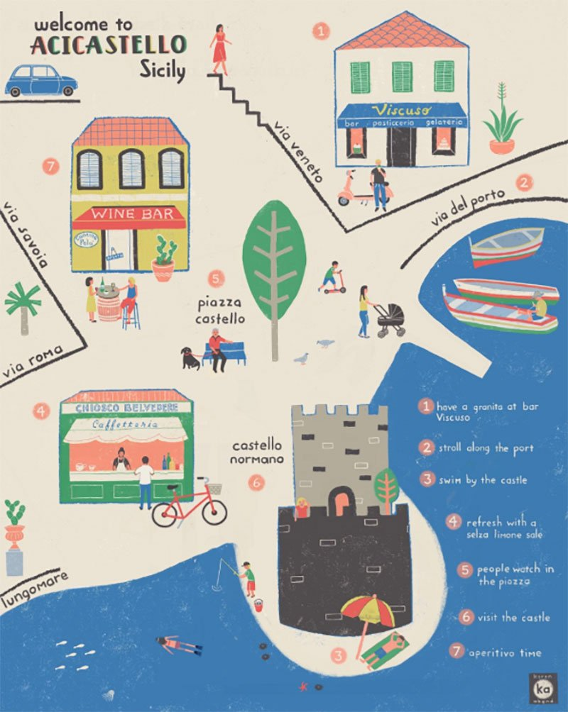 Walking map of Acicastello by Karen Abend