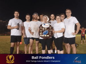 Eight Straight For Next-Gen Champs. 2019 Taringa Mixed Two Champions Ball Fondlers.