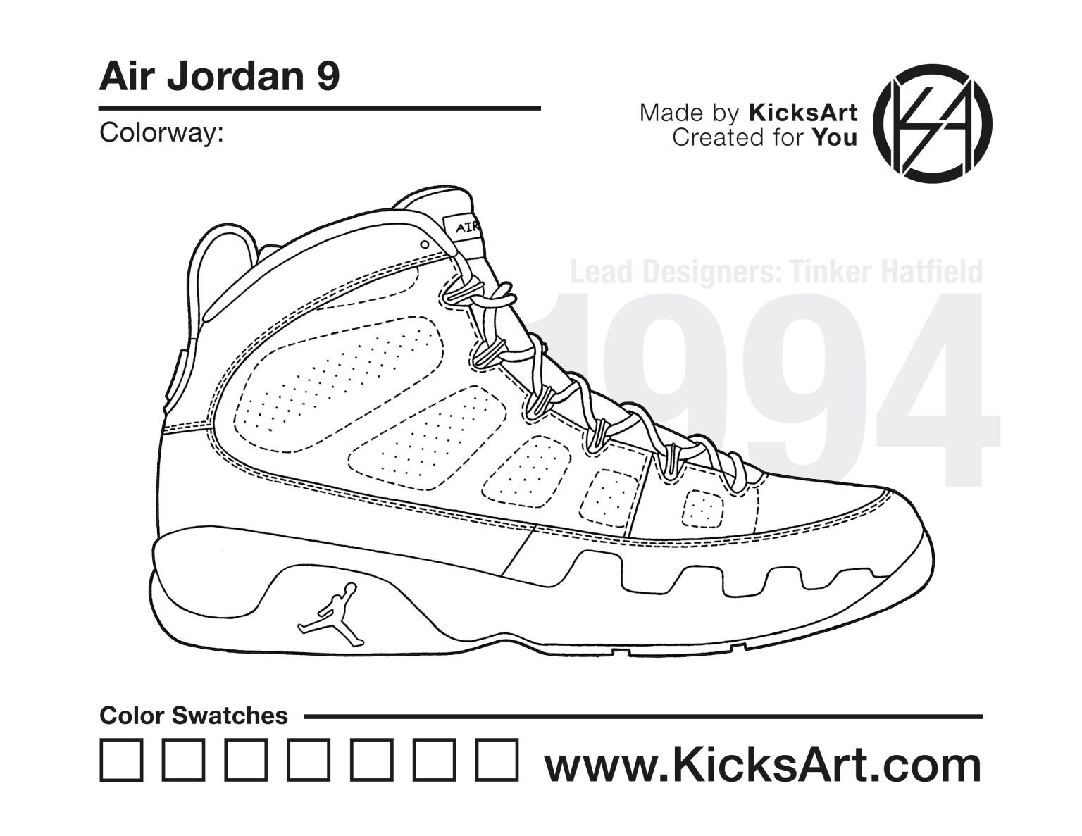 Air Jordan 9 Sneaker Coloring Pages Created By Kicksart