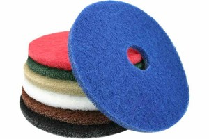 white, red green blue and black buffing pads