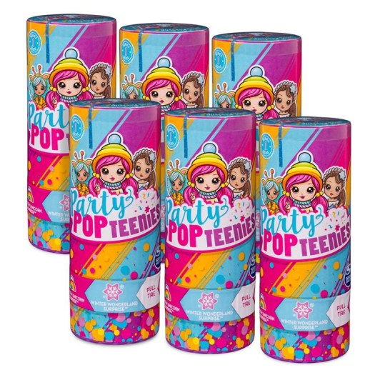 party-popteenies-series-1-Party Pack 6 Surprise Popper Bundle with Confetti tubes