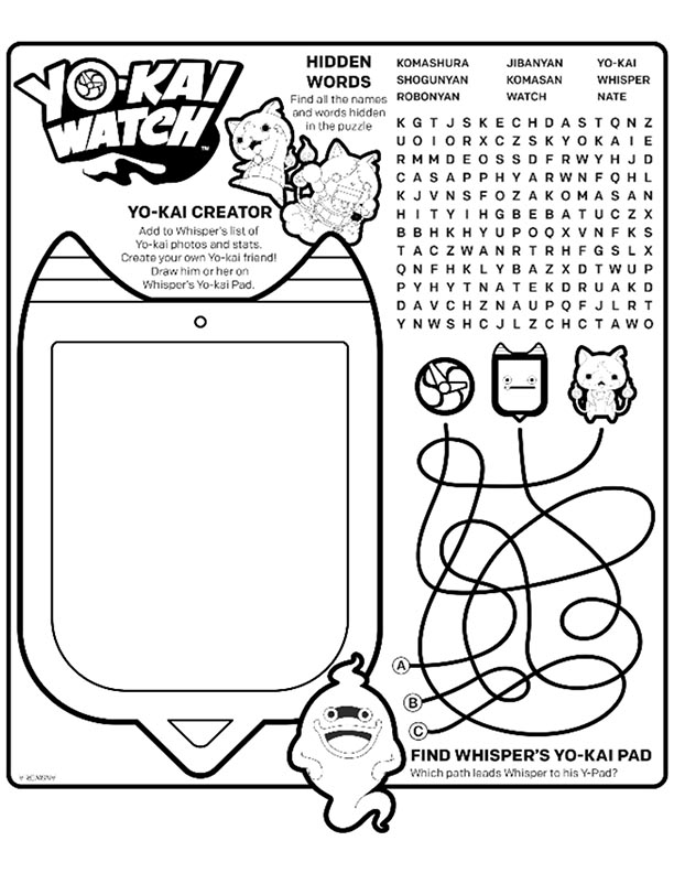 Yo Kai Watch Word Find Mcdonalds Happy Meal Coloring Page Activities Sheet