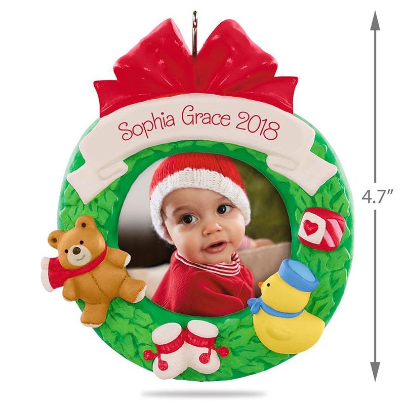 hallmark keepsake ornaments 2018 babys first christmas personalized photo frame ornament