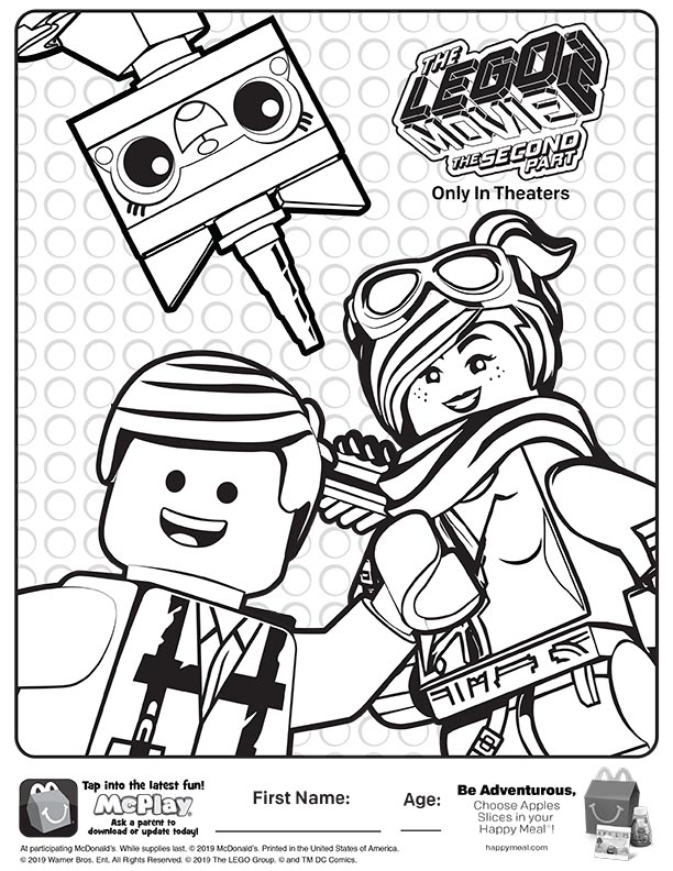 mcdonalds happy meal coloring sheet – lego movie 2 – kids time