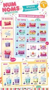 Num Noms Sparkle Smoothies Series 1 Collector Guide List Checklist