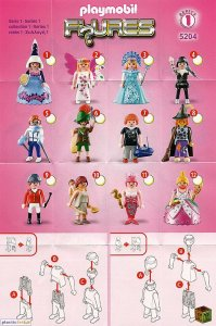Playmobil Figures Series 1 Girls List Checklist Collector Guide Insert