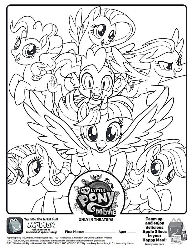 my little pony movie mcdonalds happy meal coloring