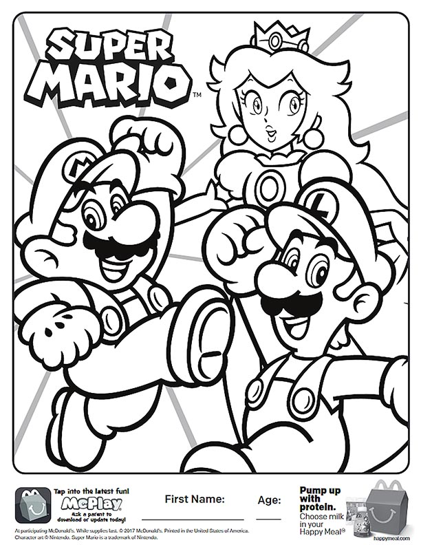McDonalds Happy Meal Coloring and Activities Sheet – Super Mario ...