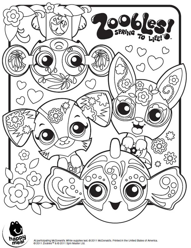 Coloring sheet kids time for Zoobles coloring pages
