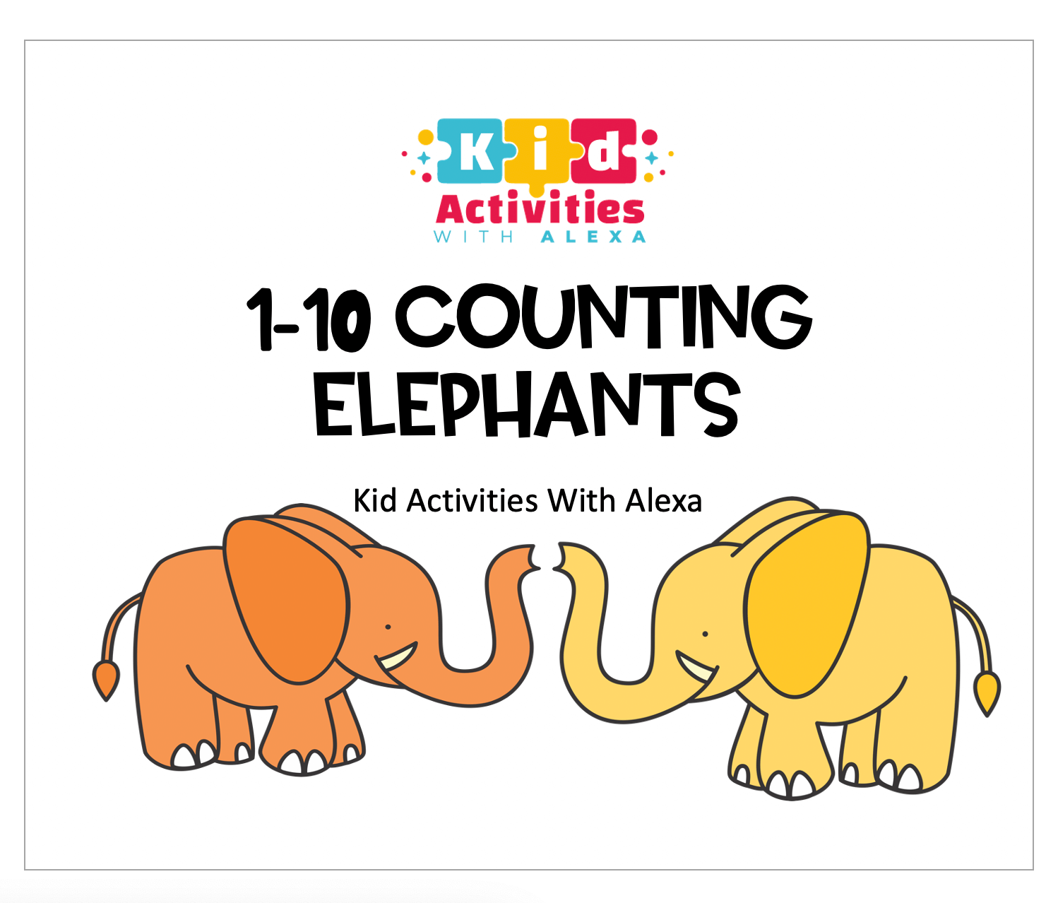 10 Colorful Elephants Color And Counting Worksheet