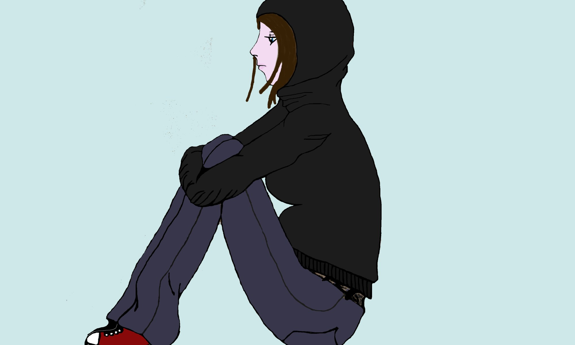 Sad Girl, woman, painting, hoodie, drawing, art