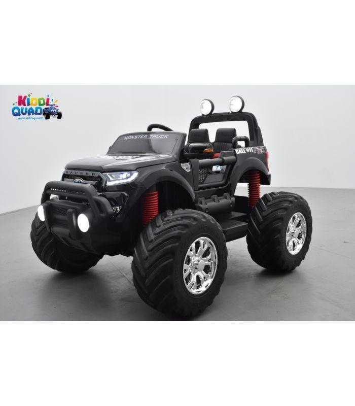 monster truck 2 x 12v ford ranger police noir metallisee voiture electrique enfant 12 volts 4 moteurs