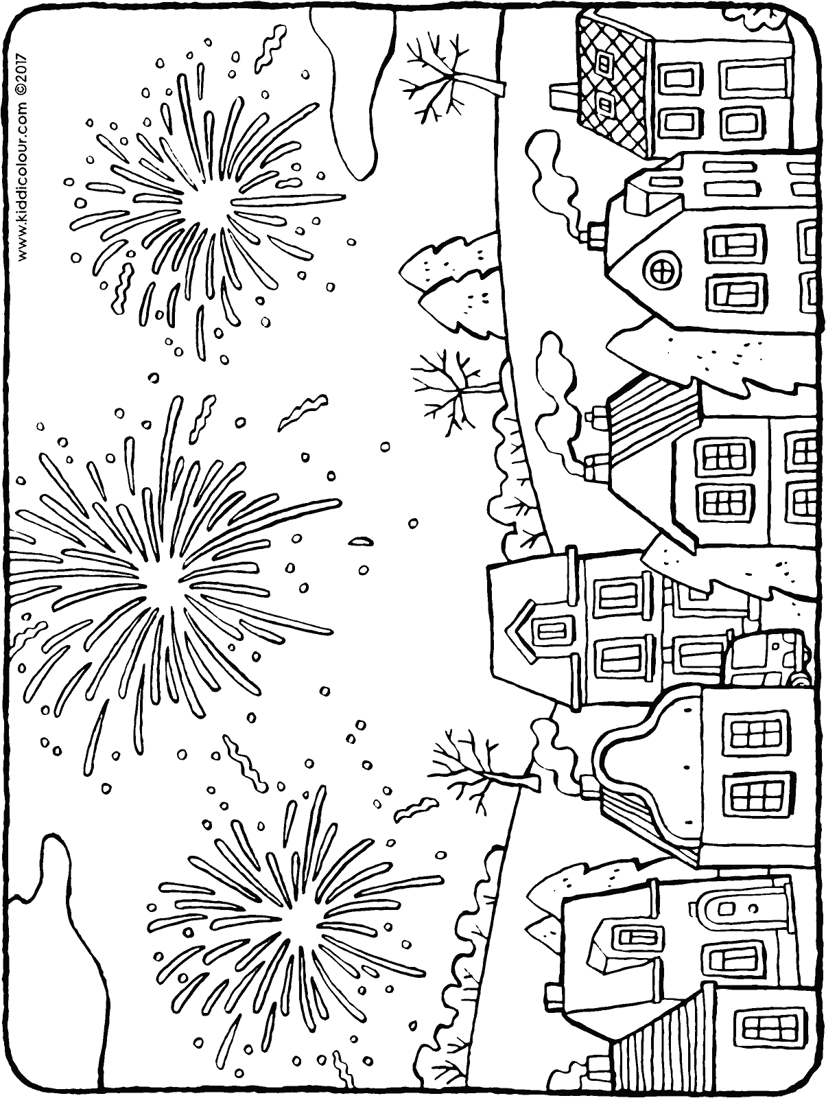 Fireworks Above The Houses