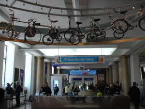 Bicycles hanging over the entrance to the Science Museum