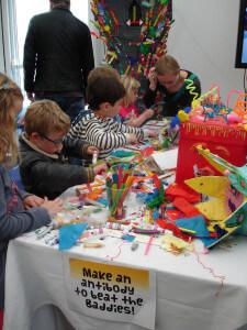 Children crafting lollipop antibodies