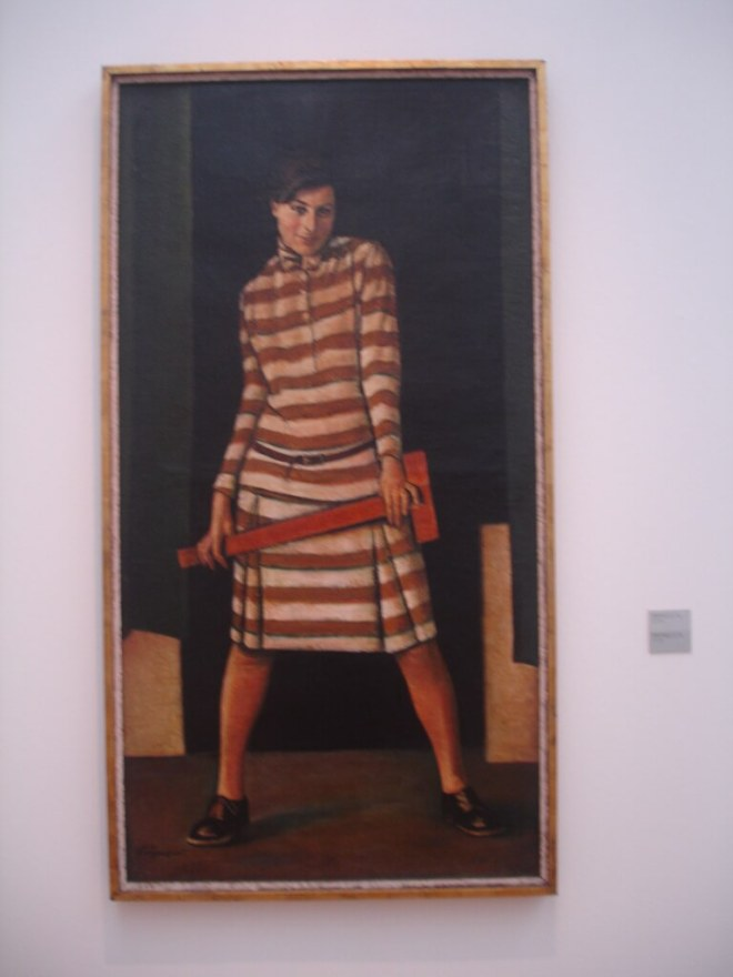 Slide rule and woman at the Tretyakov Gallery