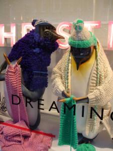 John Lewis and knitting penguins at Christmas