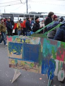 Cardboard painted trolleybus at the trolleybus parade 2015