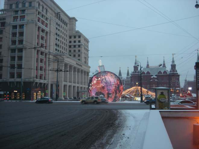 Giant Bauble on Manezh in the snow Moscow