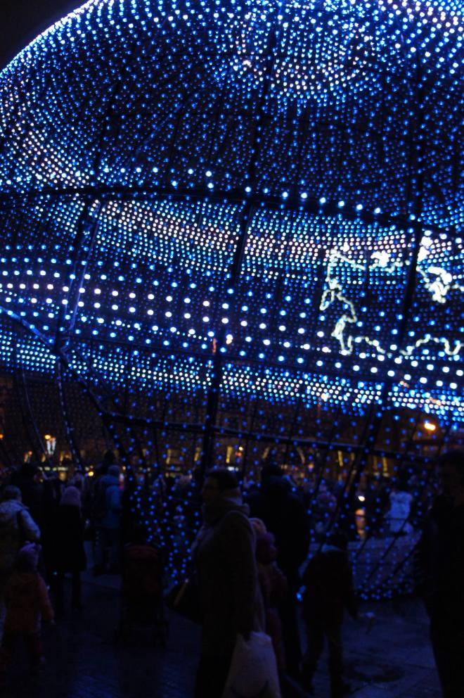Giant blue bauble Manezh Moscow