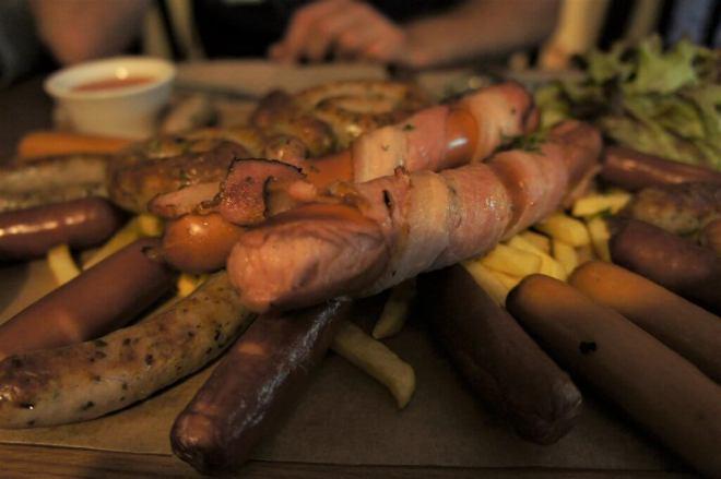 German Sausage Platter at La Gatta Restaurant Moscow