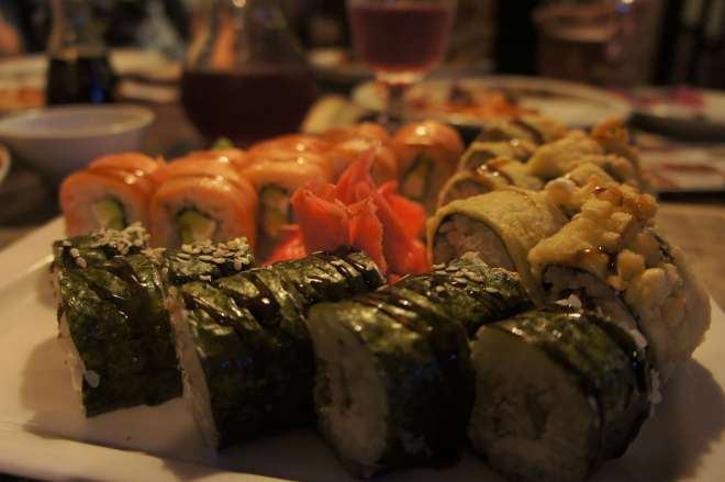 Sushi at La Gatta Restaurant Moscow