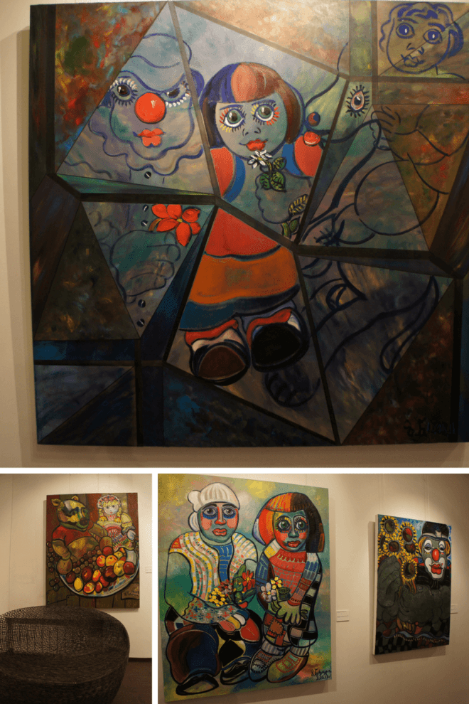Clown paintings at Zurab Tsereteli Studio Museum Moscow