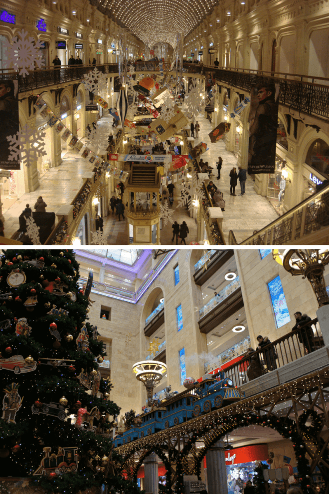 GUM and Central Childrens Store Detskiy Mir at New Year in Moscow