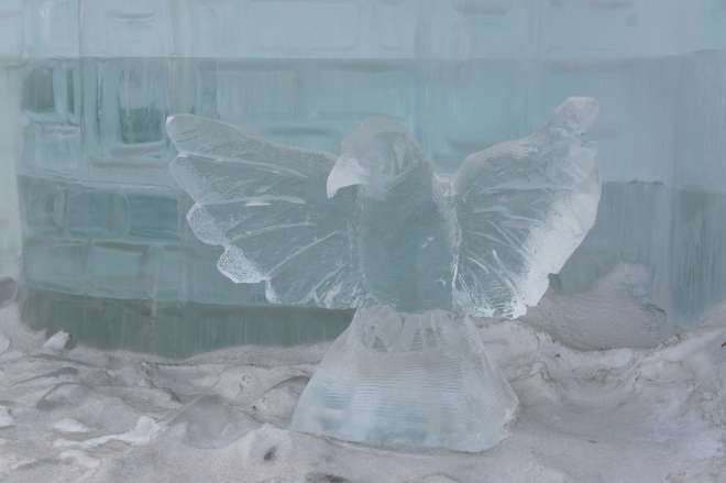Ice crow at the Ice Festival Poklonnaya Hill Moscow