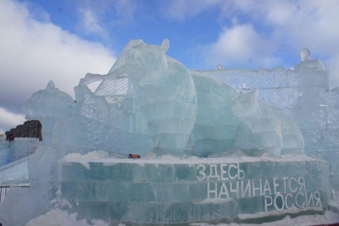 Ice bear sculpture at the Ice Festival Poklonnaya Hill Moscow