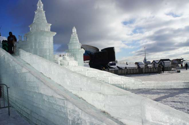 Ice slide sculpture at the Ice Festival Poklonnaya Hill Moscow
