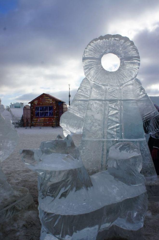 Ice sculpture at the Ice Festival Poklonnaya Hill Moscow