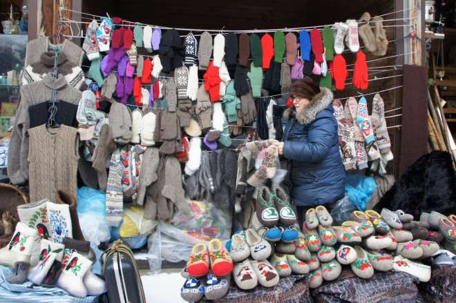 Russian Felt Slippers at Ismailovsky Market in Moscow